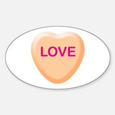 LOVE Orange Candy Heart Oval Decal