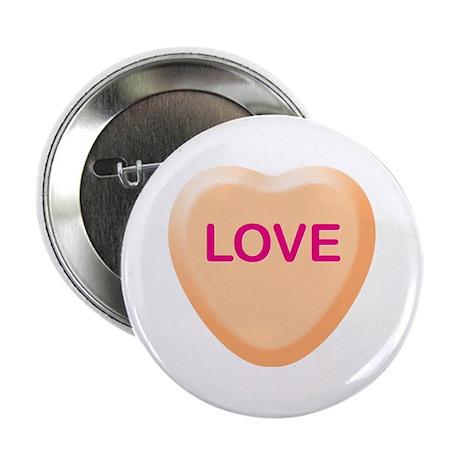 "LOVE Orange Candy Heart 2.25"" Button"
