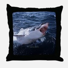 Attacking Shark Throw Pillow