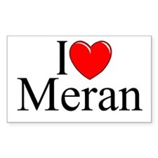 """I Love (Heart) Meran"" Rectangle Decal"