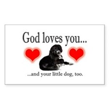 God Loves Your Dog Rectangle Decal