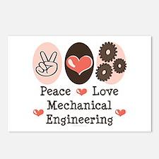 Peace Love Mechanical Engineering Postcards 8 Pack