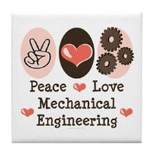 Peace Love Mechanical Engineering Tile Coaster