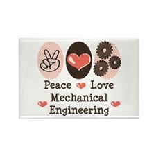 Peace Love Mechanical Engineering Rectangle Magnet