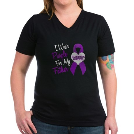I Wear Purple For My Father 18 (AD) Women's V-Neck