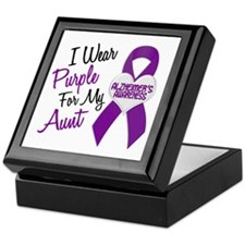 I Wear Purple For My Aunt 18 (AD) Keepsake Box