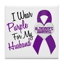 I Wear Purple For My Husband 18 (AD) Tile Coaster