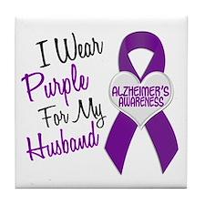 I Wear Purple For My Husband 18 (AD) Tile Coaster