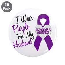 """I Wear Purple For My Husband 18 (AD) 3.5"""" Button ("""