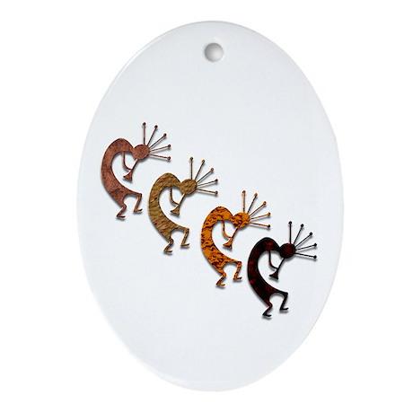 Kokopelli Quartet Oval Ornament