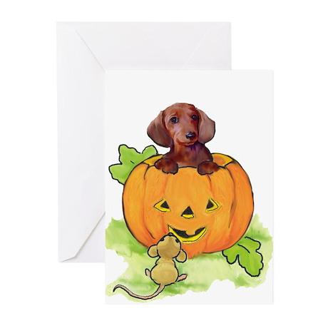 Wiener dog halloween Greeting Cards (Pk of 10)
