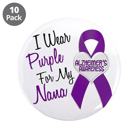 "I Wear Purple For My Nana 18 (AD) 3.5"" Button (10"