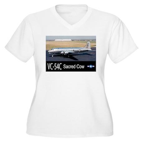 VC-54C Sacred Cow Aircraft Women's Plus Size V-Nec