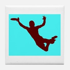 BLUE RED DISC CATCH Tile Coaster