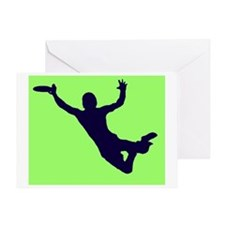GREEN BLUE DISC CATCH Greeting Card