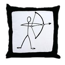 Stick figure archer Throw Pillow
