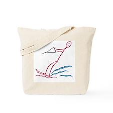 Stick figure water skiing Tote Bag