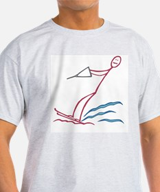 Stick figure water skiing T-Shirt