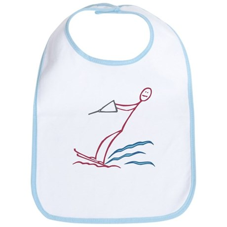 Stick figure water skiing Bib