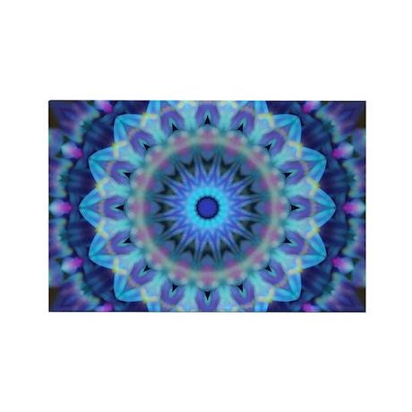 Blue Mandala Rectangle Magnet