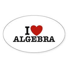 I Love Algebra Oval Bumper Stickers