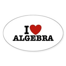 I Love Algebra Oval Decal