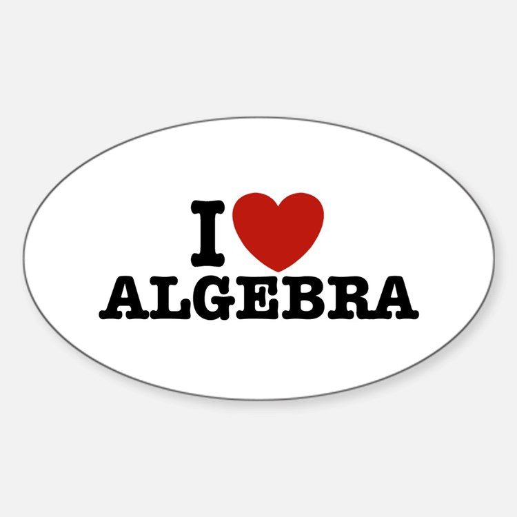 I Love Algebra Oval Decal