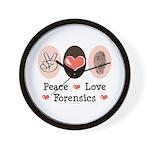 Peace Love Forensics Wall Clock