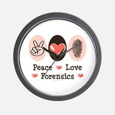 Peace Love Forensics Wall Clock
