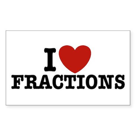 I Love Fractions Rectangle Sticker
