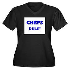 Chefs Rule! Women's Plus Size V-Neck Dark T-Shirt