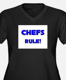 Chefs Rule! Women's Plus Size V-Neck Dark T-Shirt