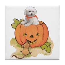 Halloween Bichon Tile Coaster