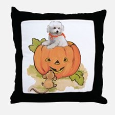 Halloween Bichon Throw Pillow