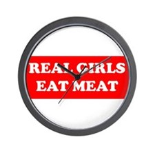 Real Girls Eat Meat Wall Clock