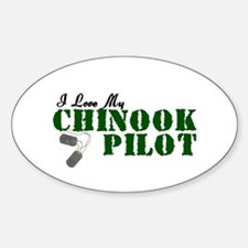 I Love My Chinook Pilot Oval Decal