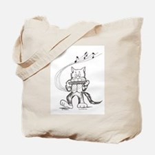 Catoons harmonica cat Tote Bag