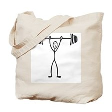 Stick figure weight lifter Tote Bag