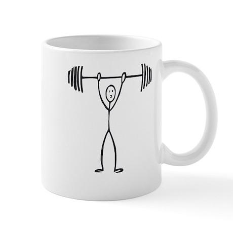 Stick figure weight lifter Mug