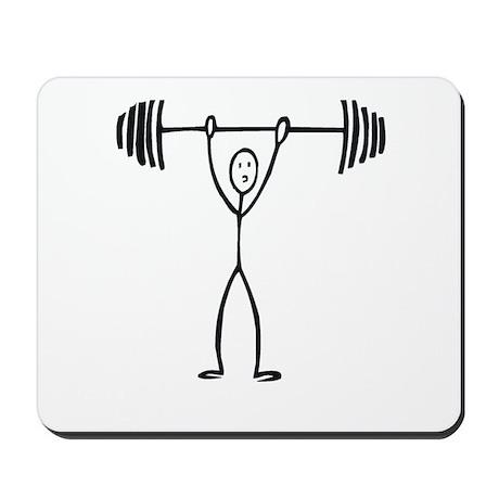 Stick figure weight lifter Mousepad