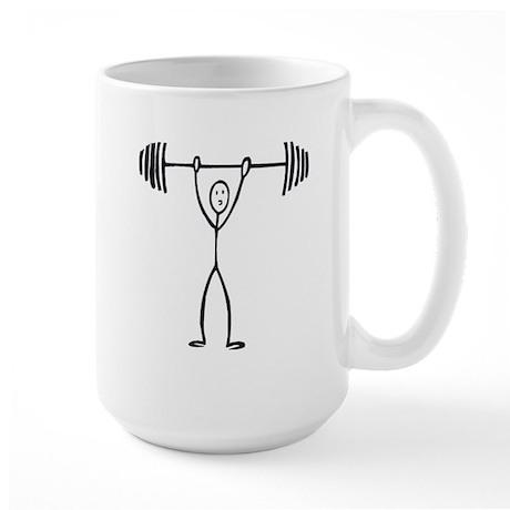Stick figure weight lifter Large Mug