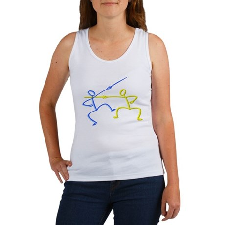 Stick figure fencing Women's Tank Top