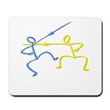 Stick figure fencing Mousepad