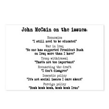 John McCain on the issues Postcards (Package of 8)
