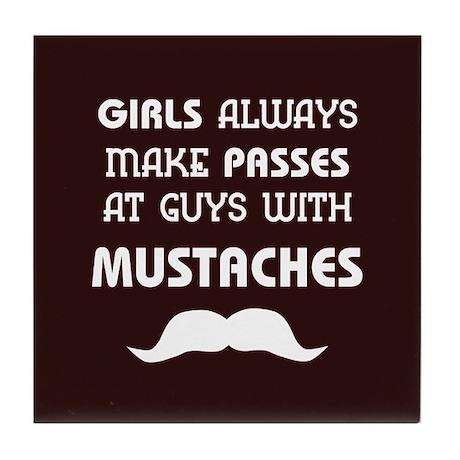 Funny Retro Mustache Tile Coaster