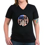 Obama 08 Women's V-Neck Dark T-Shirt