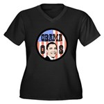 Obama 08 Women's Plus Size V-Neck Dark T-Shirt