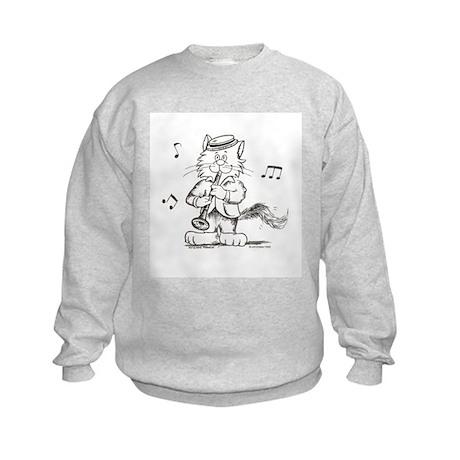 Catoons clarinet cat Kids Sweatshirt