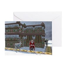 Santa and Reindeers at Home Greeting Card
