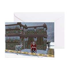 Santa and Reindeers at Home Greeting Cards (Pk of